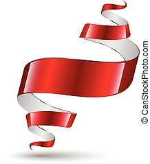 Red ribbon modern art banner.