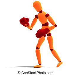 orange / red manikin is the winner - 3D rendering of a...