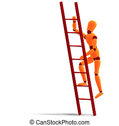 orange red manikin climbing a ladder - 3D rendering of a...