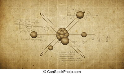 Animated atom model on a grunge background