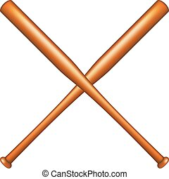 Two crossed baseball bats on white background
