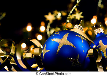 Christmas decoration - Christmas blue baubles with blurred...