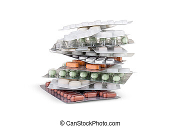 A set of different pills stacked as a tower.