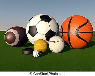 Sport balls over green grass field, 3d render