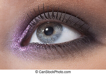 Beautiful female eye in a fashionable make-up - Details of...