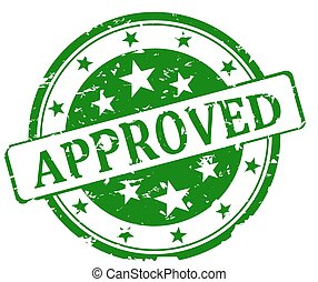 Round green stamp - approved - Round green stamp with the...