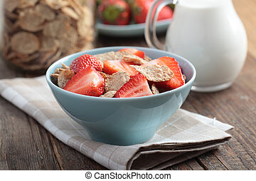 Cornflakes witn strawberry - Cornflakes with fresh...
