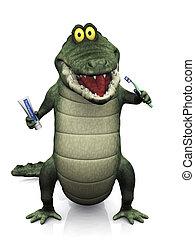 cepillado, cocodrilo, el suyo, caricatura, dientes