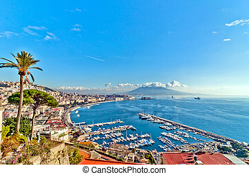 Naples bay view from Posillipo with Mediterranean sea -...