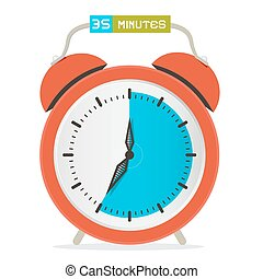 35 - Thirty Five Minutes Stop Watch - Alarm Clock Vector...