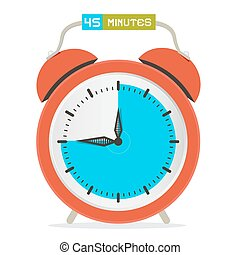 45 - Forty Five Minutes Stop Watch - Alarm Clock Vector Illustration