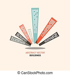 Flat Design Buildings Vector Illustration