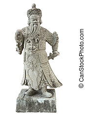 Stone Chinese warrior in the Temple of the Emerald Buddha