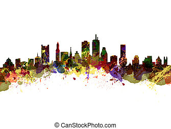 Boston USA - Watercolor art print of the Skyline of Boston...