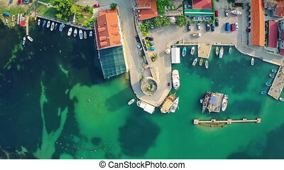 Mali Ston on Peljesac peninsula, aerial - Copter aerial view...