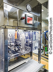 Machine for filling liquid substance in package on...