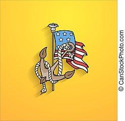Retro Anchor with USA Flag Vector