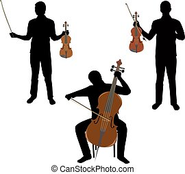 Musicians - silhouettes musician,two play on violin,but...