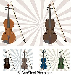 six violins - vector illustration of six violins in...