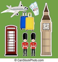 sticker Big Ben - vector illustration sticker Big Ben ,...