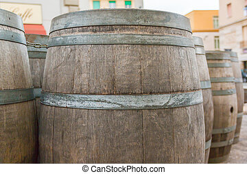 oak wooden Barrel. Barrel made of wood.