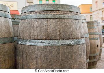 oak wooden Barrel. Barrel made of wood.