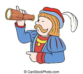 Man Searching with Telescope Vector - Cartoon Man Searching...