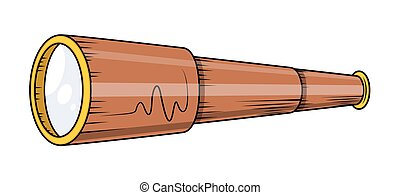 Retro Telescope Vector - Retro Wooden Telescope Vector...