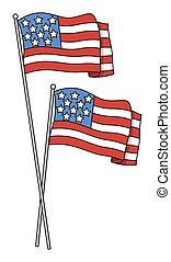 America Flags Vector - Abstract Retro American Patriotic...