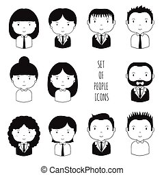 Set of monochrome silhouette office people icons Businessman...