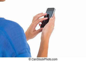 Woman sending a text message on white background