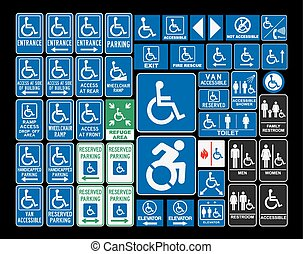Handicap signs - Vector pack of different handicap...