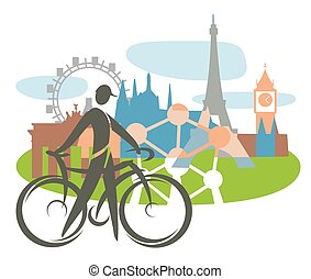 Bicycle touring in Europe. - Cyclist with Collage of Famous...
