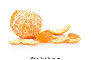 Single peeled mandarine with rind isolated on white - Studio...