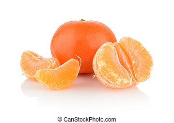 Studio shot tangerines with pieces isolated on white -...