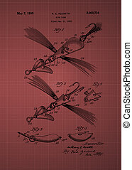 Fish Lure Patent 1933 Vintage patent artwork great...