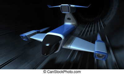 Futuristic jet flying in tunnel