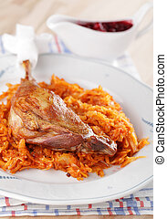 Goose leg with braised cabbage