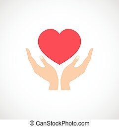 Hand Hold Protect Heart - Human hands holding and protect...