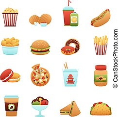 Fast Food Icon Set - Fast food icon set with donut soda...