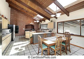 cocina, madera, techo, Claraboyas