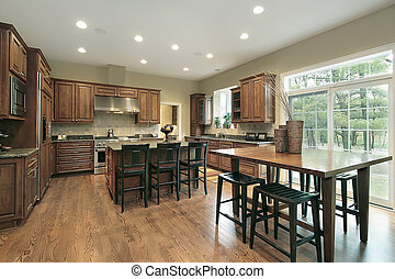 Luxury kitchen with wood cabinets and eating area