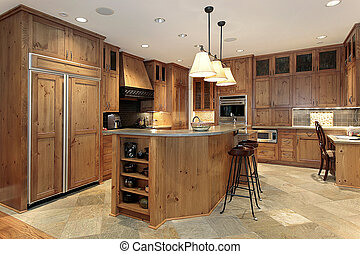Contemporary all wood kitchen