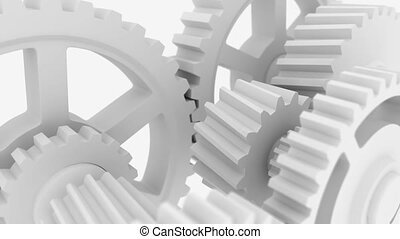 Rotating white cogwheels - 3D animated motion background