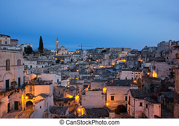 Evening view of the old town of Matera, Italy