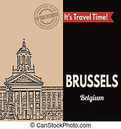 Brussels, retro touristic poster - Vintage touristic poster...