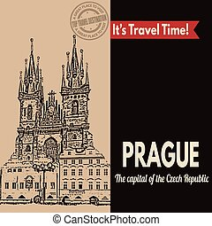 Prague, retro touristic poster