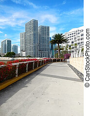 Sidewalk along Biscayne Bay from brickell Key Miami Florida