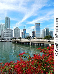 Biscayne Bay and Brickell Key Drive. Miami, Florida, USA