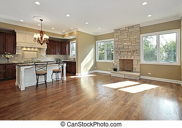 Kitchen and family room in new construction home
